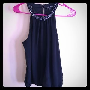 Black Express tank with silver beading